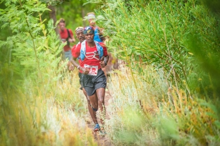 Givemore Mudzinganayama and Edwin Sesipi (front to back)of Team ASICS Elite Men claimed stage one victory at the Houw Hoek Inn yesterday. Photo Credit: Tobias Ginsberg