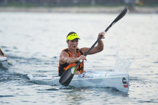 Hayley Nixon won the ladies race at race nine of the Marine Surfski Series which took place on Friday. Photo: Anthony Grote
