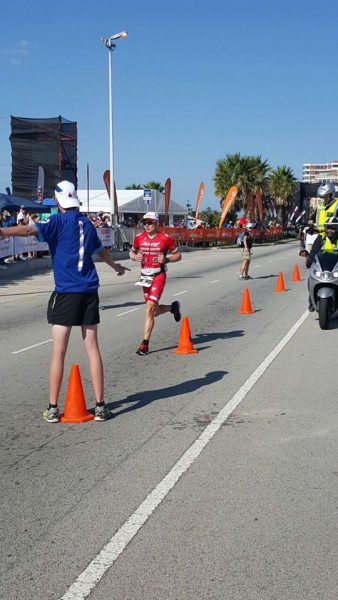 Ben Hoffman racing to the finish line to take the win at the 2016 Ironman African Championship in Port Elizabeth today. Photo: facebook.com/ironmansouthafrica