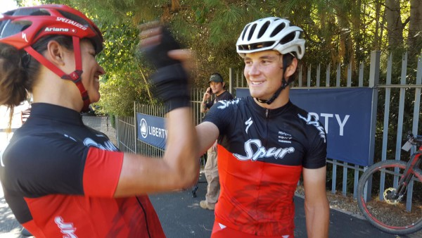 Team Spur's Ariane Kleinhans (left) and Stephan Senekal congratulate each other after winning the mixed category on stage one of the 2016 Liberty Winelands MTB Encounter. Photo: Full Stop Communications