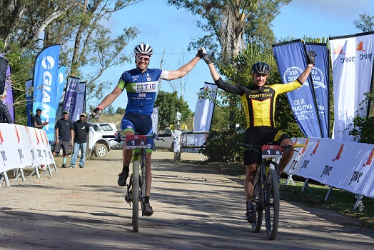 Andrew Hill (left) and Adriaan Louw win their second PwC Great Zuurberg Trek title. Photo: Full Stop Communications