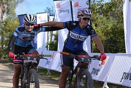 Anriette Schoeman (left) and Samantha Sanders of Africa Silks-Valencia win the 2016 PwC Great Zuurberg Trek. Photo: Full Stop Communications