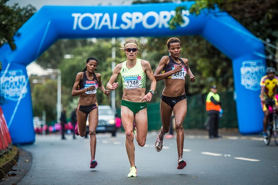 Top three ladies in action at the 2016 Women's race in Durban on Sunday. Photo: Tobias Ginsberg