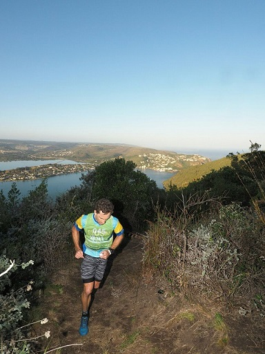 Stuart Marais leads the way in the Featherbed Trail Run at the Knysna Oyster Festival on Tuesday. Photo: Supplied