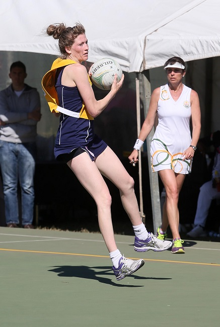 Karla Mostert (Free State A) jumps with the ball in their match against Gauteng during the SPAR National Netball Championships in Durban. Photo: Reg Caldecott