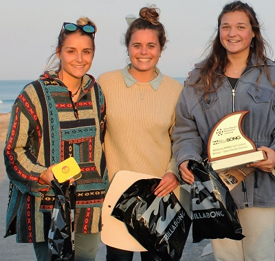 The top three surfers in the Billabong Madibaz surfing contest at Summerstrand at the weekend were NMMU surfers (from left) Rebekah Anderson (third), Roxy Giles (second) and Britney Linder (first). Photo: Supplied
