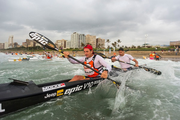 Euro Steel/EPic Kayak's Hank McGregor and Lee Furby dominated day two to win the Gara Dolphin Coast Challenge this weekend. Photo: Anthony Grote
