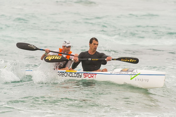 Despite winning the first stage the Epic Kayak's duo of Matt Bouman and Wade Krieger could not replicate their opening days result and settled for second at the Gara Dolphin Coast Challenge on Sunday. Photo: Anthony Grote
