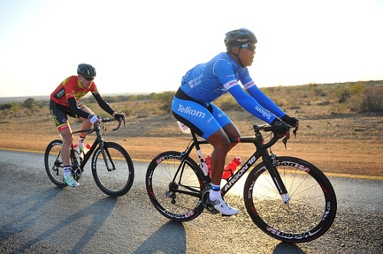Team Telkom's Nolan Hoffman (right) and Bradley Potgieter were in the leading trio in the Bestmed Cycle4Cansa Classic Road Classic at Sun City today. In an exciting sprint finish Hoffman took the top spot and Potgieter finished third, while Calvin Beneke was second. Photo: The Citizen