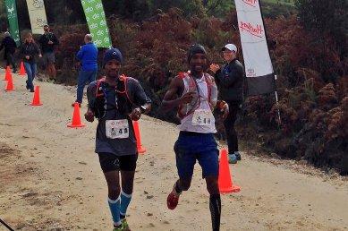 Thabang Madiba and Lucky Miya racing to stage two victory at the Sox Trail Run. Photo: twitter.com/janhamjr