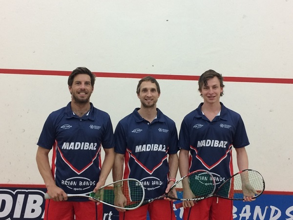 Members of the NMMU-Madibaz squash team which won the Eastern Province men's first league are, from left, Brendan Bassett, Jason le Roux and Liam Ford. Johan Thiel was unavailable for the picture. Photo: Supplied