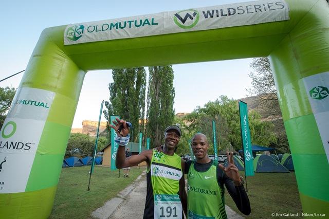 Runner up Nomore Mandingaverei and winner Eric Ngubane sharing their win at the finish of the Wild Series Golden Gate challenge. Photo: Em Gatland