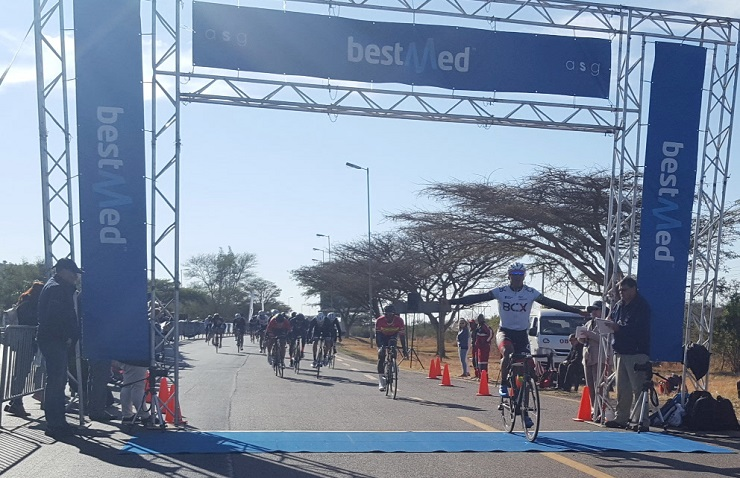BCX's Nolan Hoffman celebrates his second successive win in the 103km road race at the Bestmed Cycle4Cansa Championship after beating RoadCover's Clint Hendricks in a sprint finish at Sun City on Sunday.