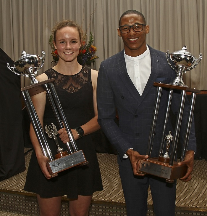 Promising squash star Alexa Pienaar (left) and national long jumper Ruswahl Samaai were named the University of Johannesburg Sportswoman and Sportsman of the Year at the gala awards function at the Johannesburg Country Club yesterday. Picture: Photo: Eon Botha/Swirling Light Photography