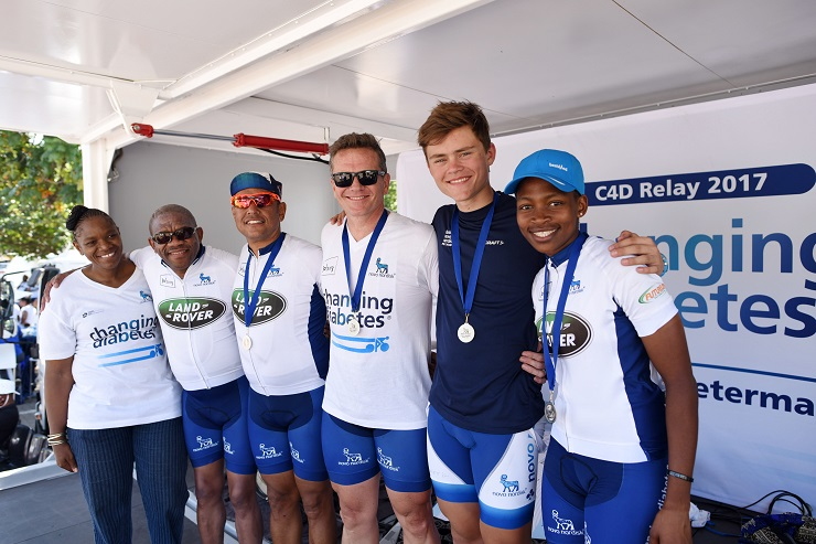 Team Bestmed-ASG's Zanele Tshoko took part in the three-day Cycle4Diabetes relay between Johannesburg and Pietermaritzburg recently. With her are, from left, Sindi Mthethwa, from the KwaZulu-Natal Department of Health, Timmy Kedijang of event organisers Novo Nordisk South Africa, Owen Botha, Gerhard Moolman and Marco Moolman.