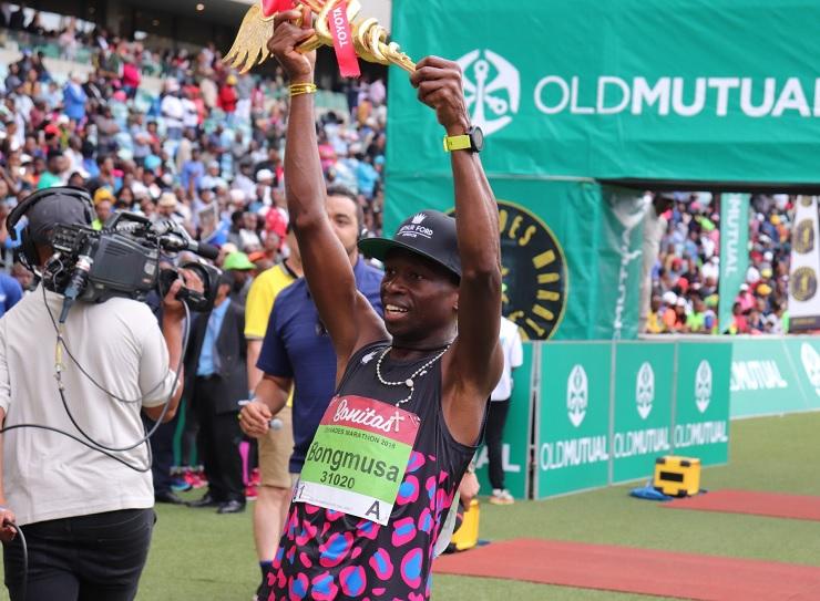Bongmusa Mthembu won the Comrades Marathon when the race finished at the Moses Mabhida Stadium. Photo: Twitter/@ComradesRace