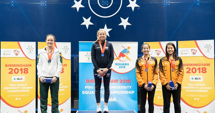 University of Johannesburg's Alexa Pienaar (left) claimed the silver medal in the World University Squash Championships