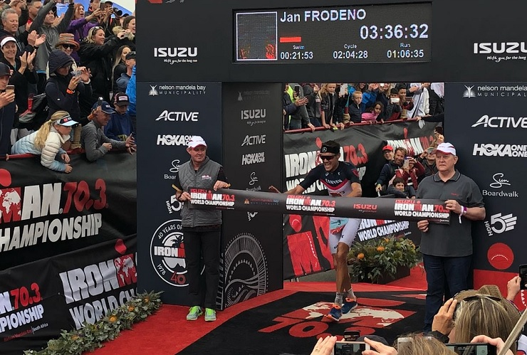 Germany's Jan Frodeno won the men's Ironman 70.3 World Championship in Port Elizabeth, South Africa, today. Photo: twitter.com/IRONMANLive