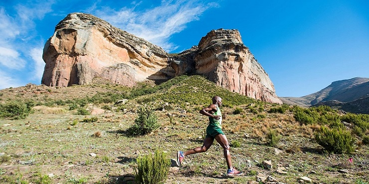 Linda Zondi and Marianne Semmelink claimed the overall men's and women's titles at the Golden Gate Challenge in the Free State over the weekend. Photo: runningraces.co.za/goldengate2018