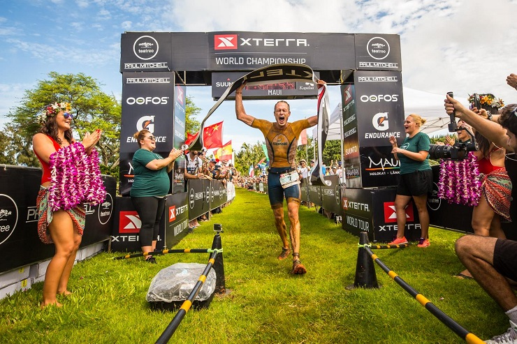 Costa Rica's Rom Akerson won the men's title at the Xterra World Championship