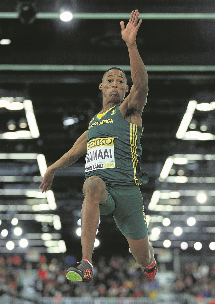 Long jump star Ruswahl Samaai was named the University of Johannesburg Sportsman of the Year