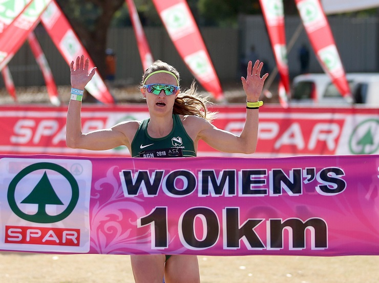 Irvette van Zyl won the 10km feature race of the SPAR Women's Challenge in Johannesburg yesterday. Photo: Reg Caldecott/Gallo Images