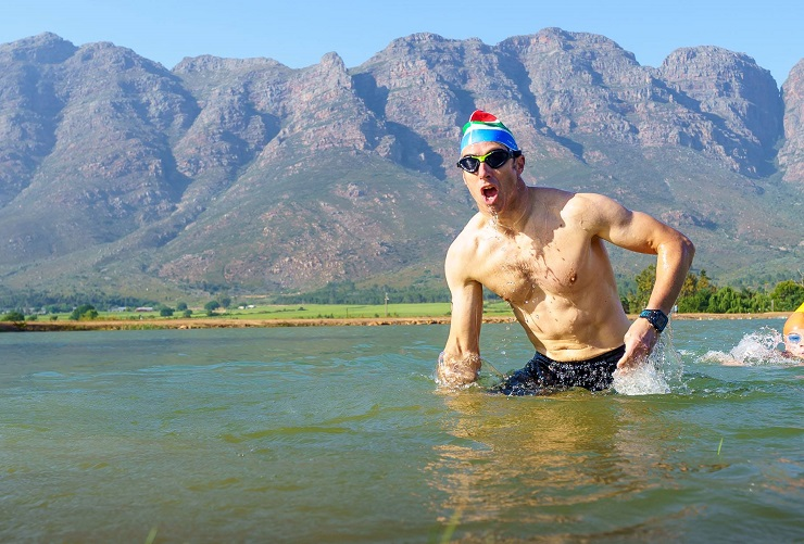 A contestant pictured leaving the water during the Slanghoek MTB Triathlon today. Photo: Chris Hitchcock