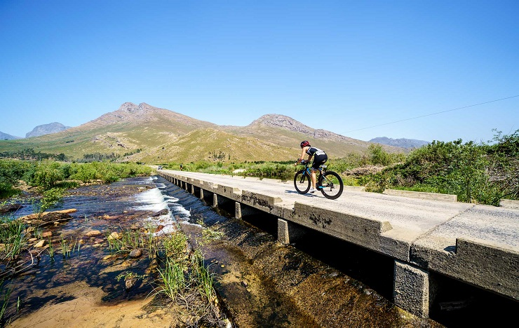 A cyclist in action during the Slanghoek Triathlon