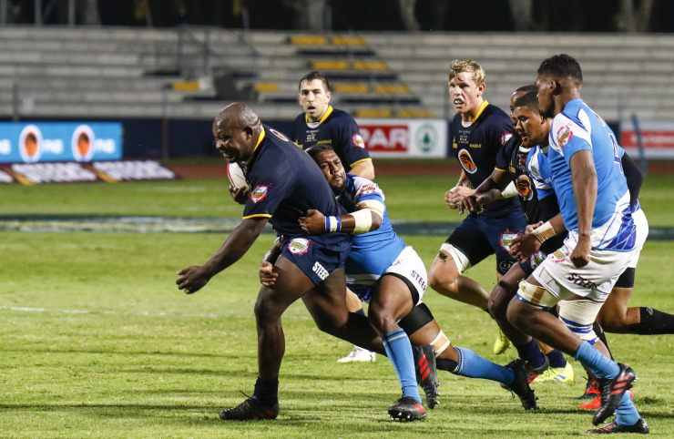 Madibaz prop Tembelihle Yase goes on a charge in the Varsity Shield rugby final
